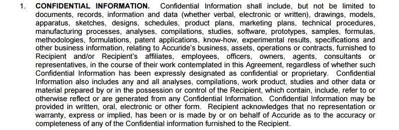 Definition Of Confidential Information In Accuride Corporation  Confidentiality Clause Contract