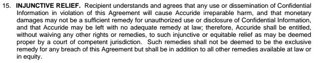 Injunctive relief clause in Accuride Corporation agreement