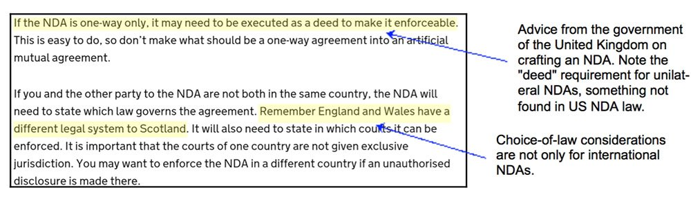 The advice from the UK gov on crafting NDA agreements