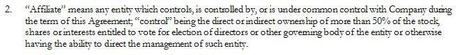 The Affiliate term: Parties that have ability to direct management