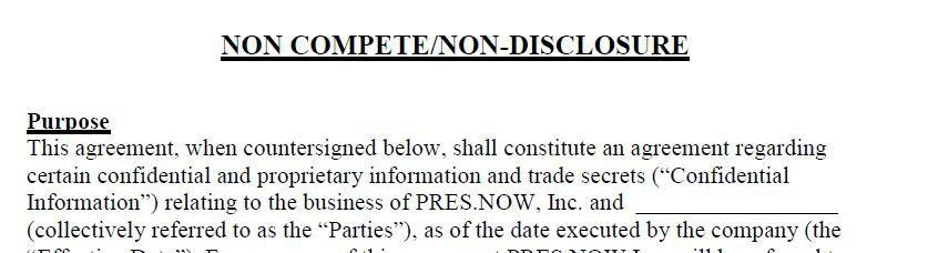Another Example Of Joint Agreement Of Non Disclosure/non Compete