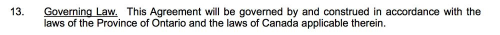 Example of Governing Law clause as a logistics clause in NDA
