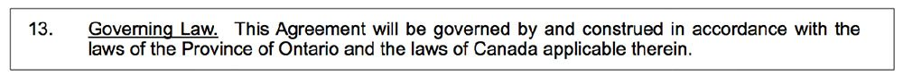 Screenshot of a Governing Law clause in NDAs