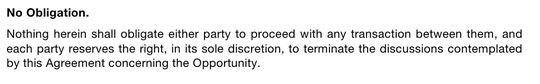 Screenshot of a No Obligation clause in NDAs