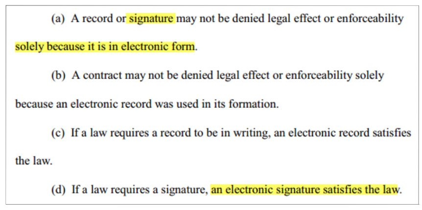 Uniform Electronic Signature Act 104
