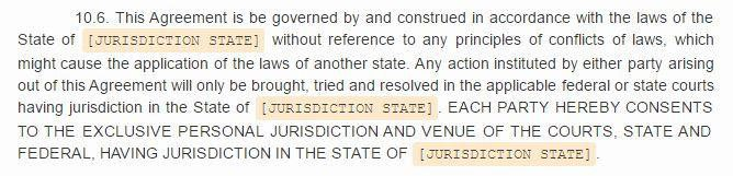 Example of Governing Law and Jurisdiction clause from Docracy