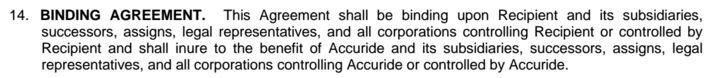 Accuride Confidentiality Agreement: the Binding Agreement clause