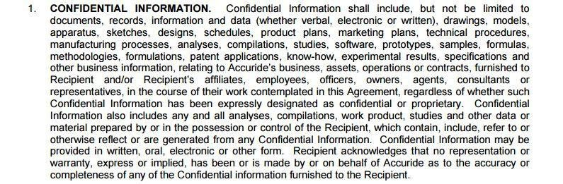 Accuride Confidentiality Agreement: What Is Confidential Information