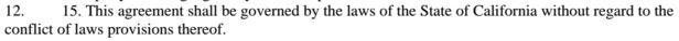 The Choice of Law clause from Sonnyboo Non-disclosure agreementThe Choice of Law clause from Sonnyboo Non-disclosure agreement
