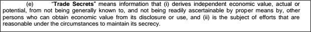 Definition of a Trade Secret in a NDA agreement