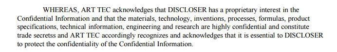 Disclosure that includes highly confidential trade secrets