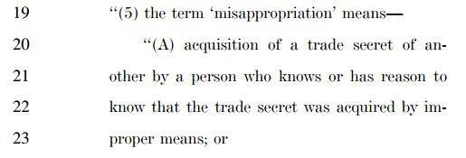 DTSA, first section on misappropriation