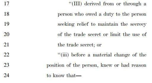 DTSA, third section on misappropriation
