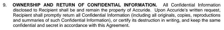 Ownership and Return of Confidential Information clause in agreement from Accuride Corp
