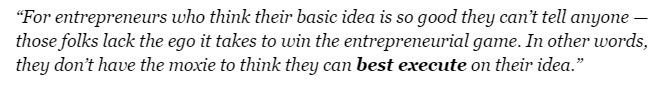 Quote from Paul Jones on NDA to VC meetings