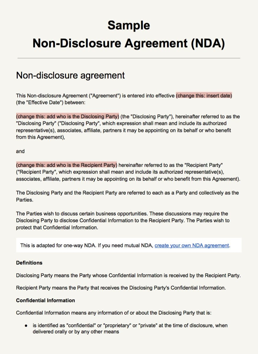 Screenshot Of The NDA Template As PDF  Draft Agreement Between Two Parties