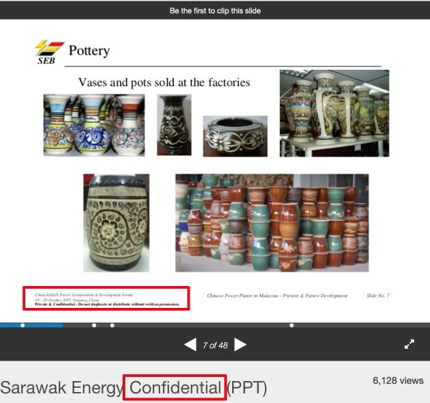SlideShare: Highlight tags of Sarawak Energy Confidential PPT