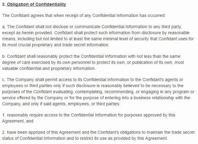 Docracy: Example Of Obligation Of Confidentiality Clause In NNN Agreement  Confidentiality Clause Contract
