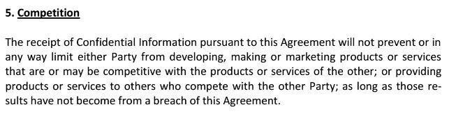Competition clause from NDA of European IPR Helpdesk