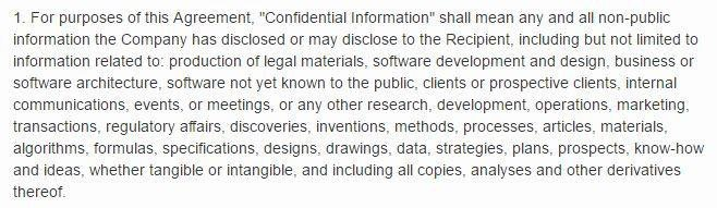 Example of Definition of Confidential Information: Software Development, Design