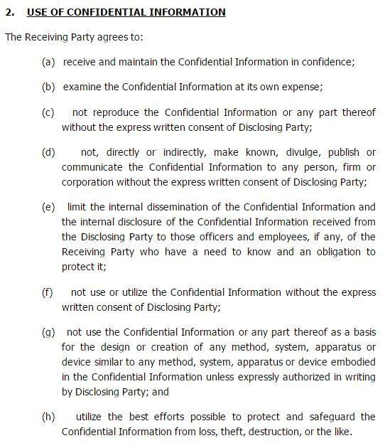 FreePatentForms: Clause Of Use Of Confidential Information In Agreement  Confidentiality Clause Contract