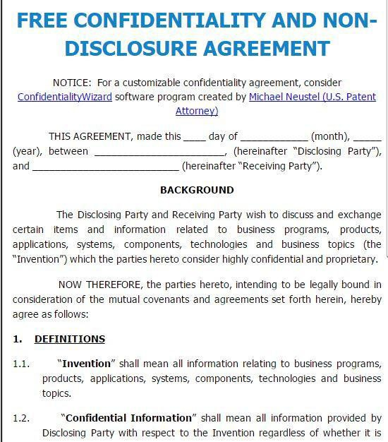 Confidential Disclosure Agreements Non Disclosure Agreement