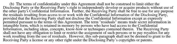 Microsoft Confidentiality Agreement: No license or rights granted
