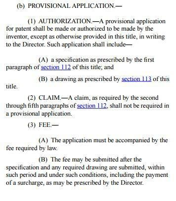 Text on Provisional Application from USC 111