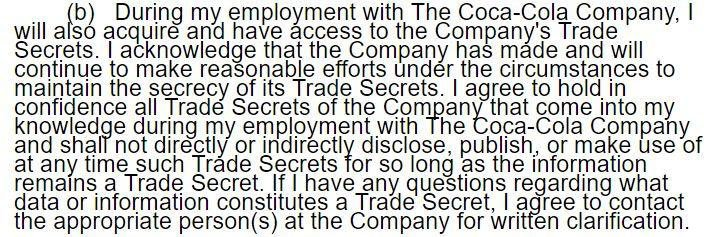 Example of a clause from Coca-Cola Confidentiality Agreement