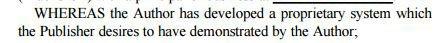 Example NDA: Whereas Author developed proprietary system