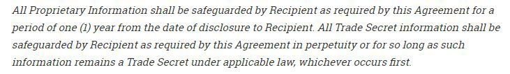 Example of clause for confidentiality obligation for life related to trade secrets