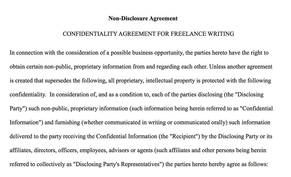 Sample NDA From HireFreelancerWriters.com  Confidentiality Clause Contract