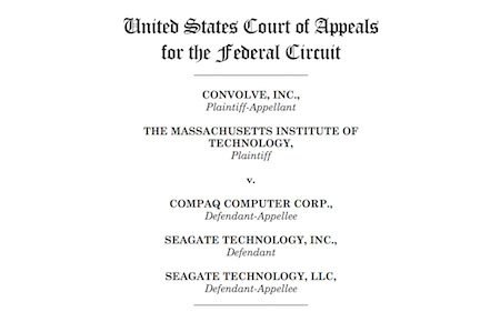 Screenshot from US Court of Appeals on Convolve vs. Compaq