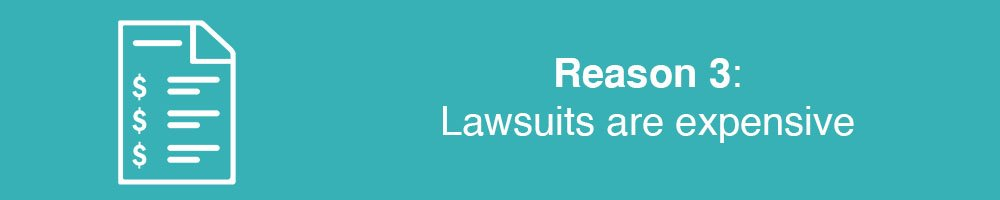 Reason 3: Lawsuits are expensive