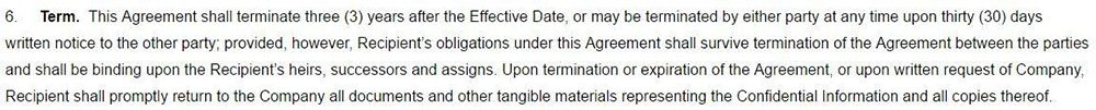 Example of Termination in 30 days clause in One-way NDA