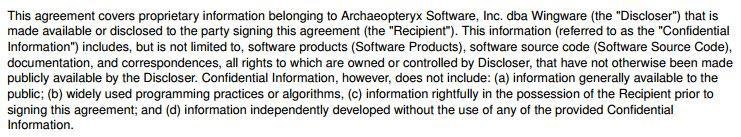NDA agreement from Wingware: Definition of Confidential Information